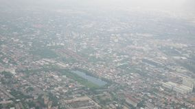 Aerial view of bangkok city from airbus twin propeller stock video footage