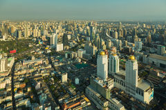 Aerial view Bangkok city business area downtown Royalty Free Stock Images