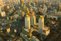 Aerial view Bangkok city business area during sunset Royalty Free Stock Photo