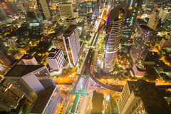 Aerial view Bangkok city business downtown and road intersection Royalty Free Stock Images