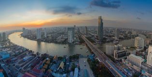 Aerial view of Bangkok city with Chao Phraya river Royalty Free Stock Photos