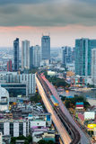Aerial view Bangkok city downtown over the bridge cross river Stock Images