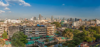 An aerial view of Bangkok city and old market along canal Royalty Free Stock Image