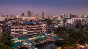 An aerial view of Bangkok city and old market along canal Royalty Free Stock Photos