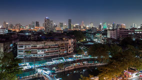 An aerial view of Bangkok city and old market along canal Stock Photography