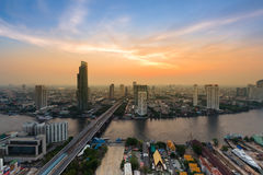 Aerial view, Bangkok city river curved Royalty Free Stock Photography