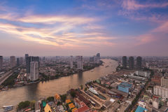 Aerial view Bangkok city river curved with dramatic sky Stock Photography