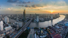 Aerial view, Bangkok city and river curved Stock Photo