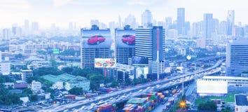 Aerial view of the Bangkok City skyline, expressway, and billboa royalty free stock photography