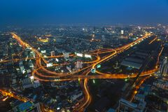 Aerial view of Bangkok city skyline Royalty Free Stock Photo
