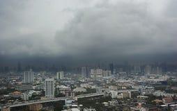 Aerial view of Bangkok city, under blue storm cloudy sky. Aerial view of Bangkok city, many business buildings under blue storm cloudy sky Stock Images
