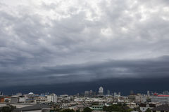 Aerial view of Bangkok city. Aerial view of Bangkok city, under blue storm cloudy sky in rainy season stock photos