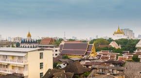 Aerial view of Bangkok city with Wat Saket  and Wat Ratchanadda Royalty Free Stock Photography
