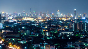 Aerial view of Bangkok. Cityscape at Night in West Side of Bangkok, Thailand Stock Photos