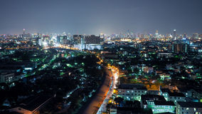 Aerial view of Bangkok. Cityscape at Night in West Side of Bangkok, Thailand. The Aerial view of Bangkok. Cityscape at Night in West Side of Bangkok, Thailand Royalty Free Stock Images