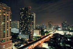 Aerial view of Bangkok downtown at Night Stock Images