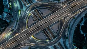 Aerial view Bangkok Expressway, Highway, Motorway, Tollway, royalty free stock photography