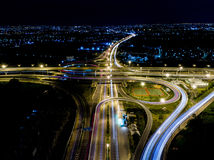 Aerial view of Bangkok Highway at Night. Aerial Express ways, toll way, high way , roads in the city Royalty Free Stock Photo