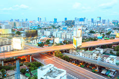 Aerial view of Bangkok Highway. To Downtown business area at night Royalty Free Stock Photography