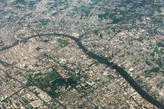 Aerial view of Bangkok metropolis and Chaophraya river. Thailand.  royalty free stock photography