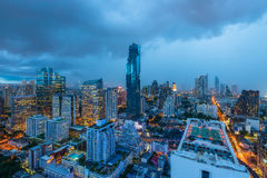 Aerial view of Bangkok modern office buildings, condominium in B. Angkok city downtown with twilight sky , Bangkok , Thailand royalty free stock photo