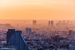 Aerial view of Bangkok modern office buildings, condominium in Bangkok city downtown at the dusk. With golden sunlight. Aerial view of Bangkok modern office Stock Photo