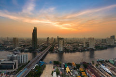 Aerial view Bangkok river curved Stock Photos