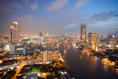 Aerial view of Bangkok Skyline royalty free stock photography