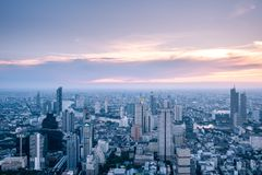 Aerial view Bangkok skyline from Mahanakorn Building in Bangkok, Thailand. stock images