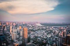 Aerial view Bangkok skyline from Mahanakorn Building in Bangkok, Thailand. stock image