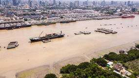 Aerial View of Bangkok skyline and view of Chao Phraya River Vie royalty free stock images