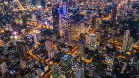 Aerial view Bangkok skyscraper on Sathorn Road center of business in Bangkok downtown, Bangkok, Thailand royalty free stock photography