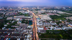 Aerial view of bangkok suburb Royalty Free Stock Photography