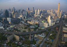 Aerial view of bangkok thailand capital skyline in heart of busi Royalty Free Stock Image