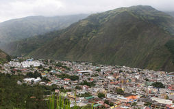 Aerial  View of Banos, Ecuador. A typical rainy day in the small mountain town of Banos Ecuador Royalty Free Stock Photos