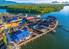 Aerial view at Bansamchong fishing village in Phang Nga province. Royalty Free Stock Image