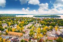 Aerial view of Bar Harbor, Maine stock photos