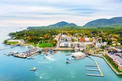 Aerial view of Bar Harbor, Maine royalty free stock photo