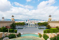 Aerial view of Barcelona from National Palace Royalty Free Stock Photography