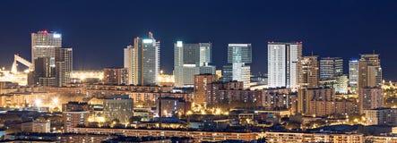 Aerial view of Barcelona atr night Royalty Free Stock Photos
