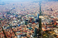 Aerial view of Barcelona with Avenue Diagonal Stock Image
