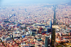 Aerial view of Barcelona with Avenue Diagonal Stock Images