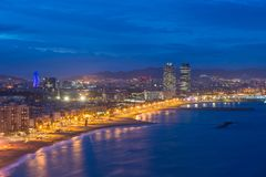 Aerial view of Barcelona Beach in summer night along seaside in. Barcelona, Spain. Mediterranean Sea in Spain Royalty Free Stock Image