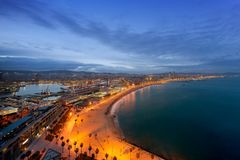 Aerial view of Barcelona Beach in summer night along seaside in. Barcelona, Spain. Mediterranean Sea in Spain Royalty Free Stock Photos
