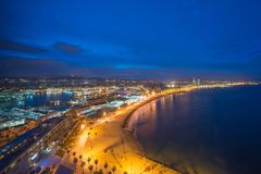 Aerial view of Barcelona Beach in summer night along seaside in Barcelona, Spain. Mediterranean Sea in Spain.  royalty free stock photos