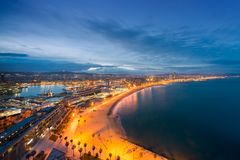 Aerial view of Barcelona Beach in summer night along seaside in Barcelona, Spain. Mediterranean Sea in Spain.  royalty free stock images