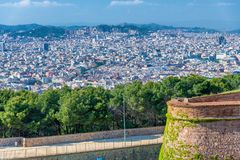Aerial view of Barcelona from Castle of Montjuic, Spain royalty free stock image
