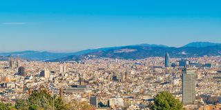 Aerial View Barcelona City, Spain. Aerial view of barcelona city from montjuic garden park viewpoint stock image