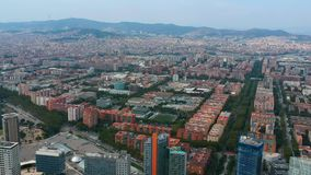 Aerial view of Barcelona city. Panoramic view from drone. Aerial view of Barcelona city. Panoramic view from the drone stock footage
