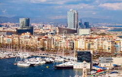 Aerial view of Barcelona city from Port Stock Photography